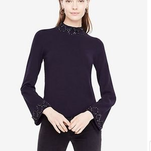 NWT Ann Taylor Embellished Mock Neck Sweater Small
